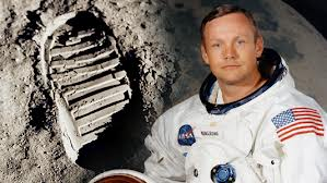 Neil Armstrong with footprint