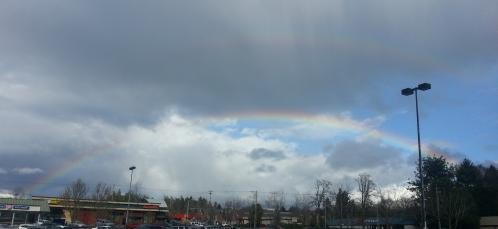 faint double rainbow