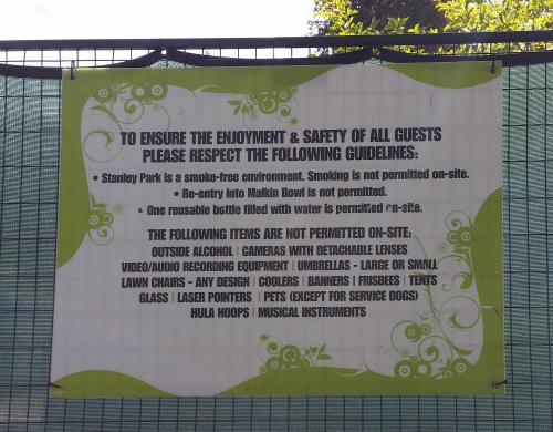 Stanley Park prohibitions