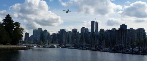 Stanley Park seaplane landing approach