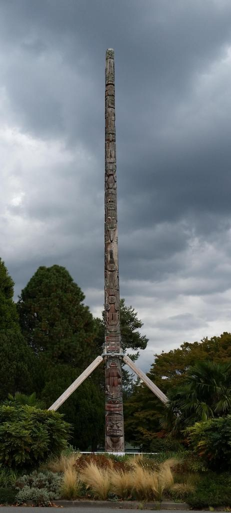 Totem pole in neighborhood