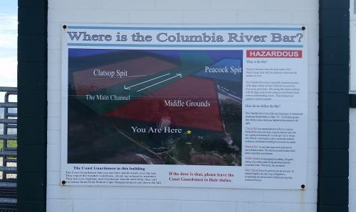 Cape Disappointment Columbia Bar sign