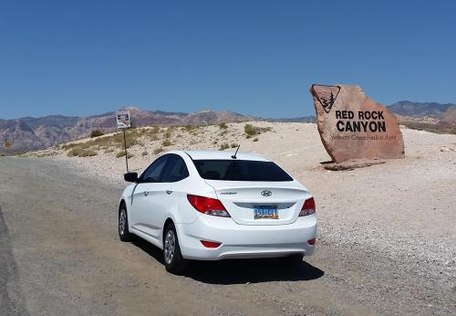Nevada Red Rock Canyon entrance with car