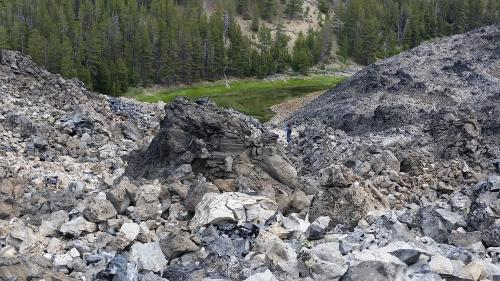 OR Newberry Big Obsidian Flow looking down trail 1 190625